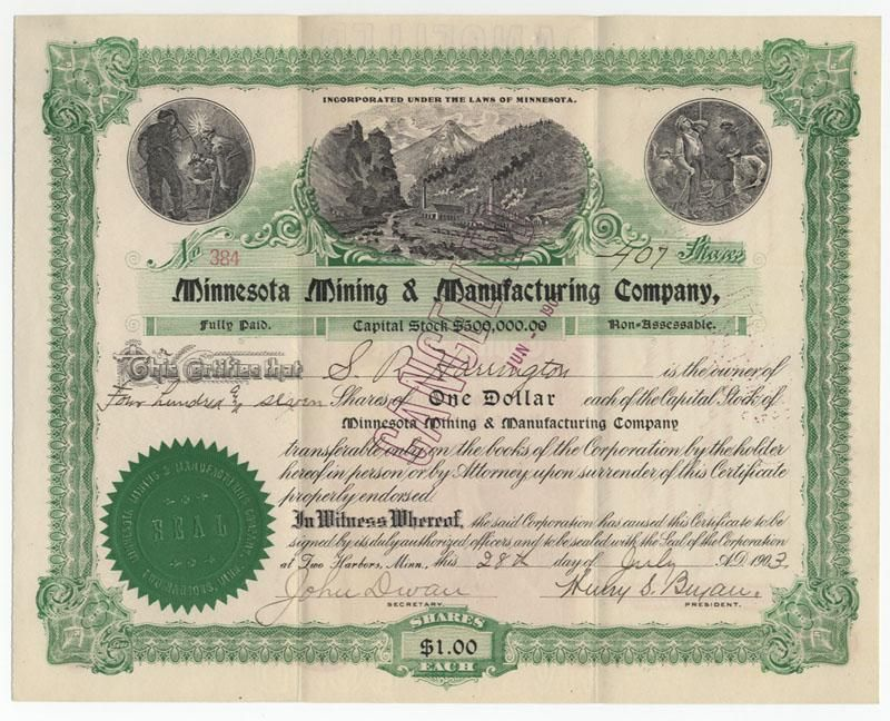 3M - Minnesota, Mining And Manufacturing Stock Signed By Two - company share certificates