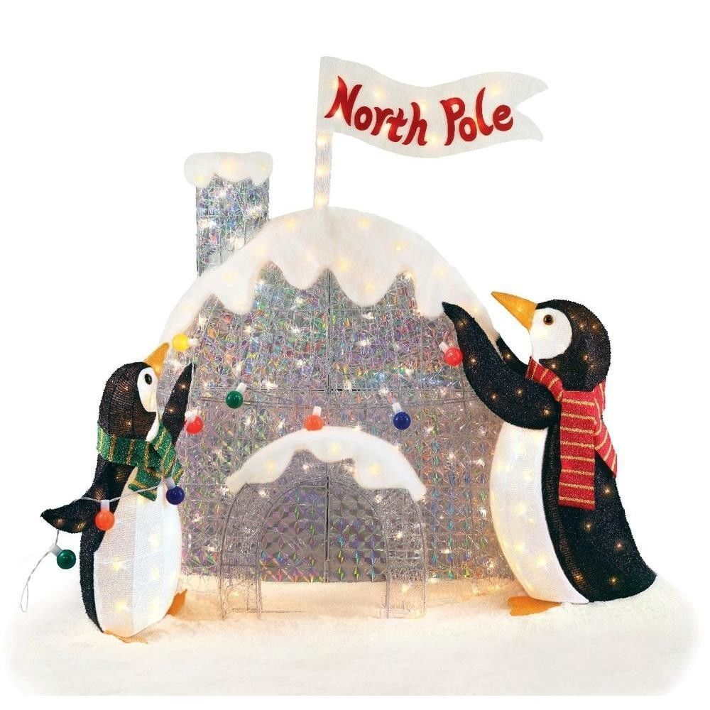 48in north pole penguins christmas lighted house outdoor yard decoration 3d in collectibles ebay