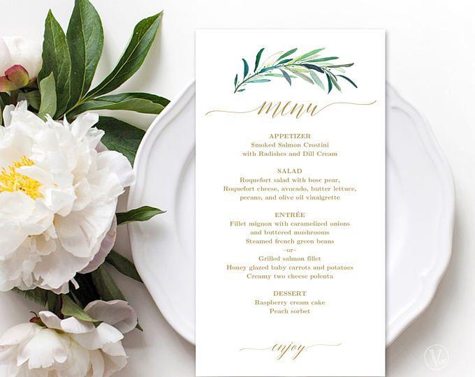 Wedding Menu Template, Printable Eucalyptus Greenery Menu Template - wedding menu template