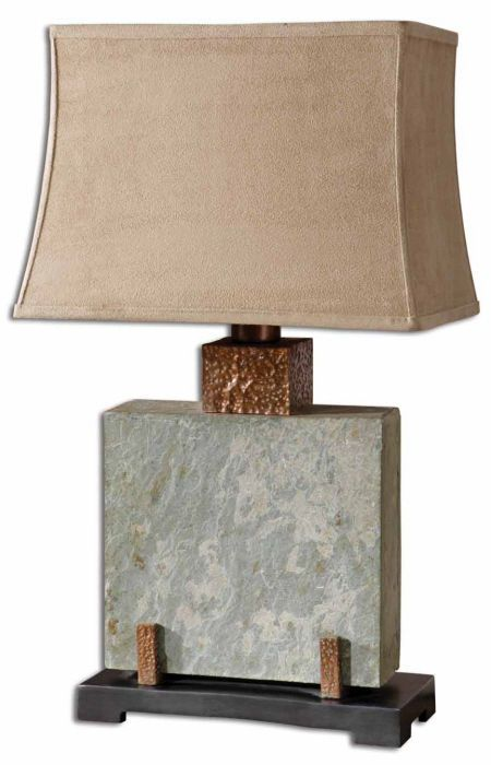 Square Natural Slate Indoor Or Outdoor Table Lamp With Copper