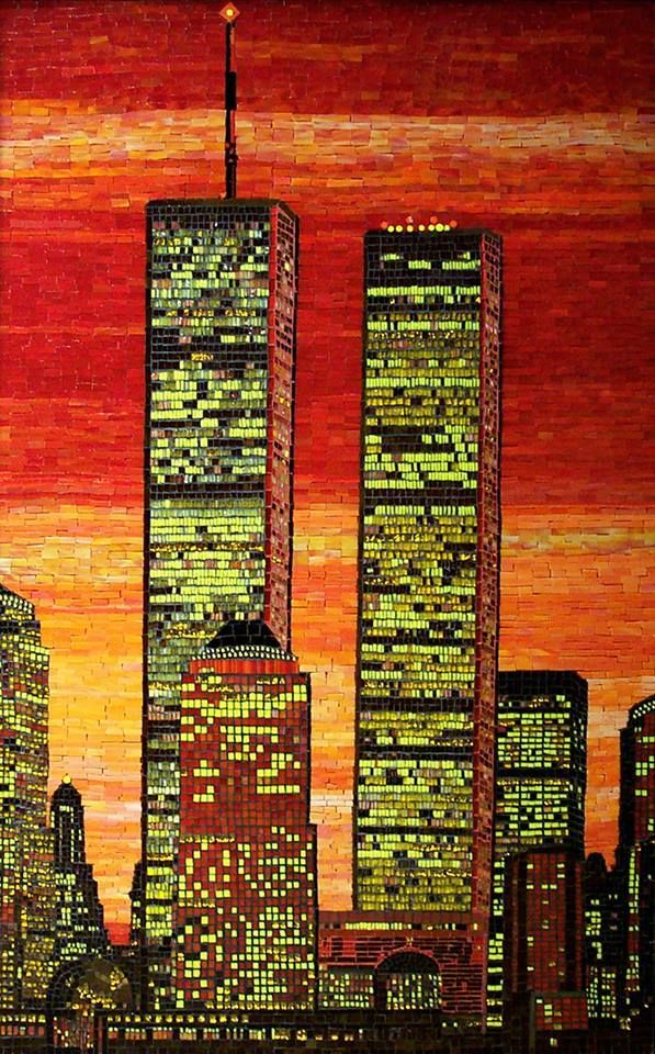 a tribute to 9/11by Vikram Nath, of Connecticut, USA. This beautiful work memorializing the World Trade Center was created with glass on wood and was featured in an exhibition at GoCM, Gallery of Contemporary Mosaics, Chicago in 2009
