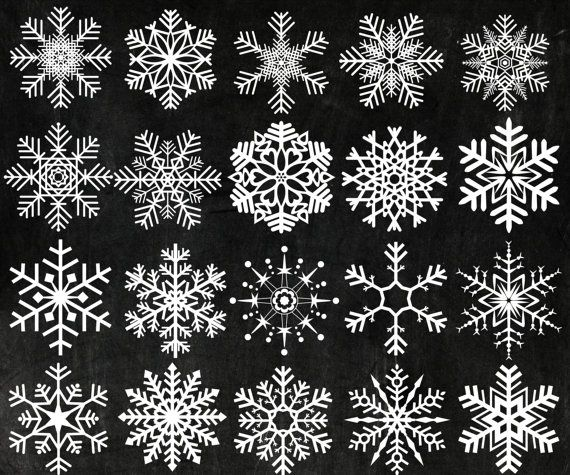 "Photo of Chalk Snowflakes Clipart: ""Christmas Clip Art"" Snowflake Clip Art Clip Art Frozen Snow Snowflake Winter Clipart digital snowflake"