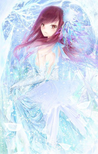 Anime picture 2874x4500 with  fairy tail erza scarlet sanae (jomill04) long hair single tall image blush looking at viewer highres breasts red eyes brown hair bare shoulders fringe standing holding snow girl dress gloves