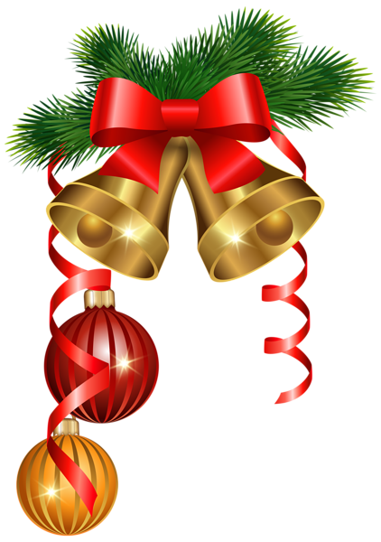 Christmas golden bells and ornaments png clipart image