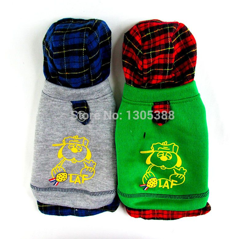 Cartoon Pic Hooded British Style Pet dogs Coat Free