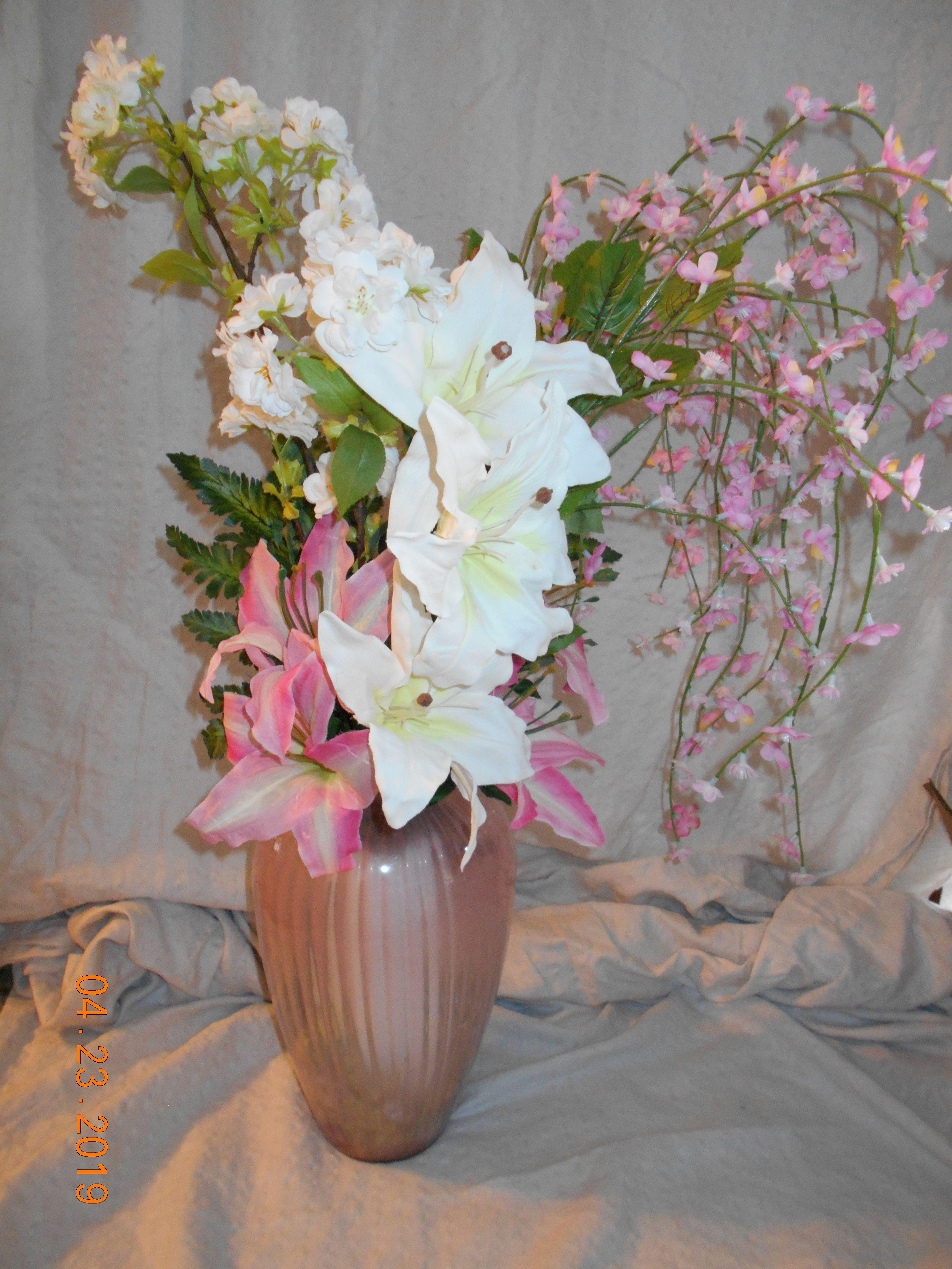 large pink vase with pink & white flowers Pink vase