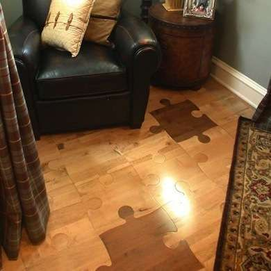 Jigsaw Puzzle Pieces These Fun Hardwood Look Floor Tiles Are Like Child S Play For The Do It Yourself Crowd Floating Pattern Click