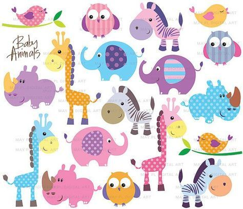 Safari Jungle Animals Clipart Cute Baby Zoo Animals Includes Etsy Free Clip Art Baby Zoo Animals Clip Art