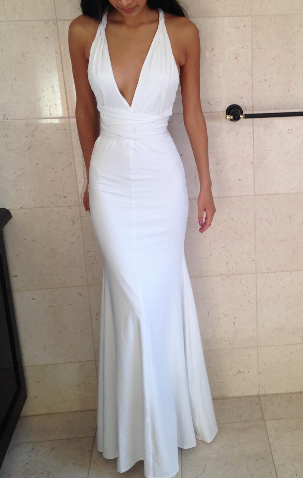 Fitted White Deep V Neck Mermaid Prom Dress Formal Gown Evening