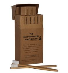 The Environmental Toothbrush... Made of bamboo...  And I think you start talking with an australian accent after you use 'em a few weeks. #Camping #Outdoors #Hygiene