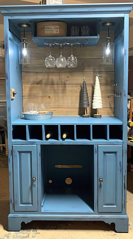 New Southern Charms Custom Armoire Bar Cabinet Wine Bar Coffee Bar Furniture Lights Generalfinishes Painted Arm In 2020 Armoire Bar Wine Bar Cabinet Bar Cabinet