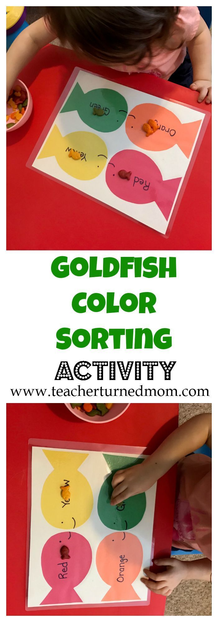 This goldfish color sorting activity is perfect to help your little ...