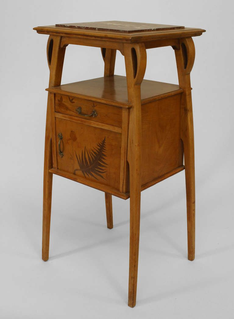 Art Nouveau Marble Top Maple Nightstand Attributed to Benouville | From a unique collection of antique and modern commodes and chests of drawers at https://www.1stdibs.com/furniture/storage-case-pieces/commodes-chests-of-drawers/