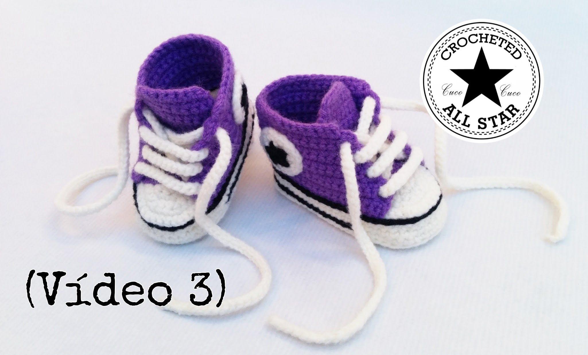 Patucos bebé All Star a crochet (Parte III) | Crochet Baby Shoes ...