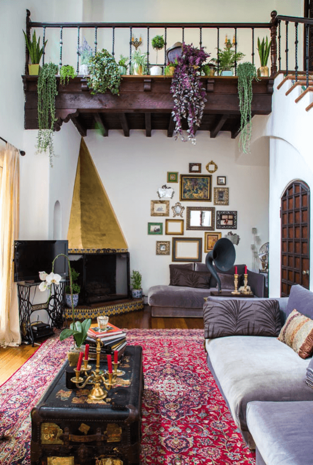 Bohemian Living Room With Deep Purple Accents