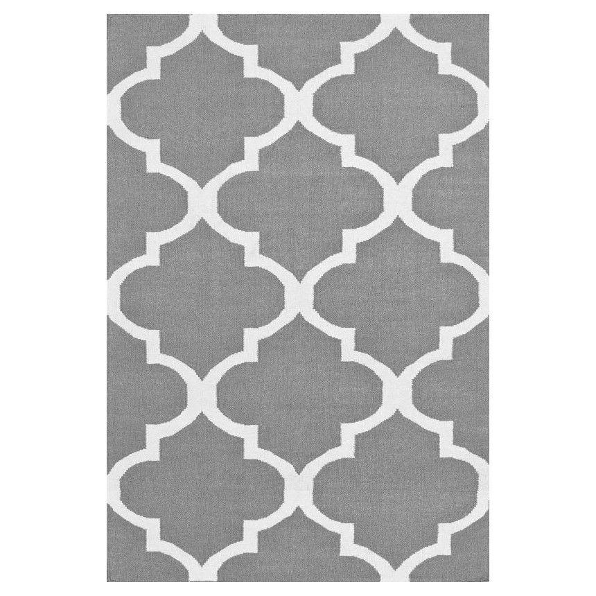 Nuloom Marbella Moroccan Trellis Kilim Grey Pure White Area Rug