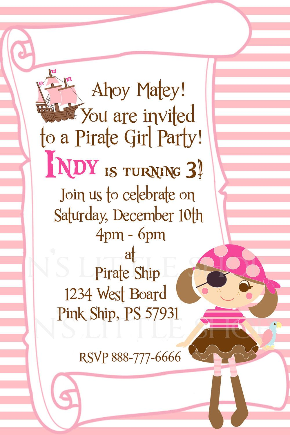 PIRATE GIRL PARTY invitation card for a girl customize – Party Invitation Card Design