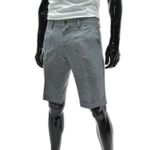 (NDSP04-NAVY) Mens Casual Slim Fit Linen Shorts