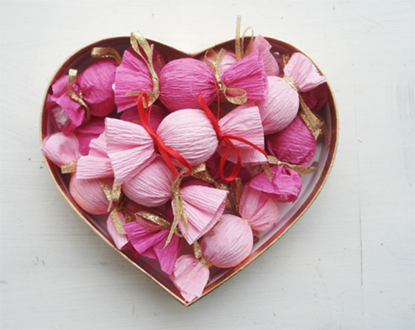 Lindt truffles wrapped in crepe paper tied with ribbon | Valentine ...