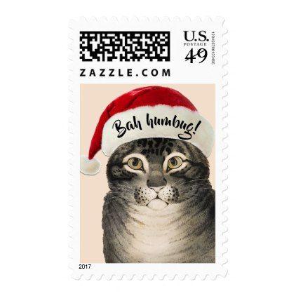Vintage Bah Humbug Santa Cat Postage