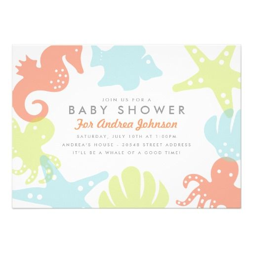 Cute Ocean Critters Baby Shower Invitation  Baby Shower Parties