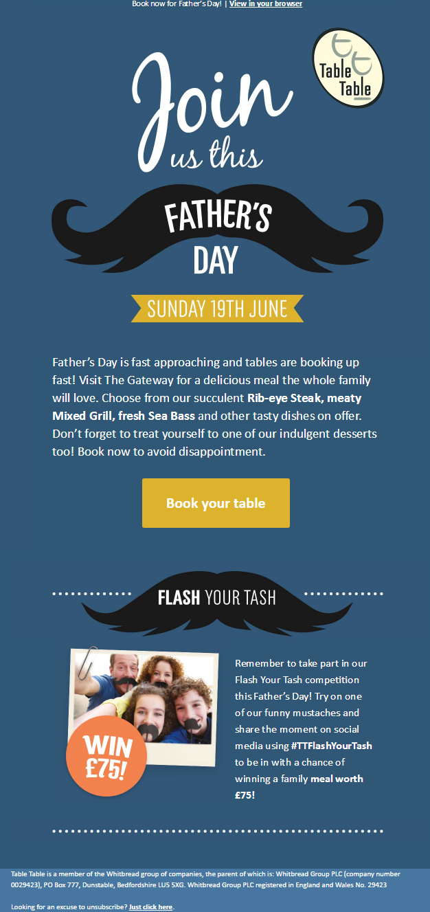 Father S Day Email From Restaurant Table Table Encouraging A