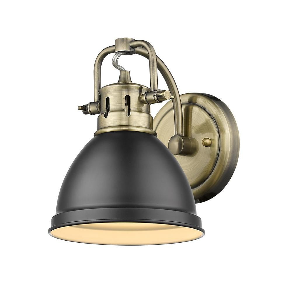 Golden Lighting Duncan Collection Aged Brass 1 Light Bath Sconce Light With Matte Black Shade Sconce Lighting Vanity Lighting Sconces