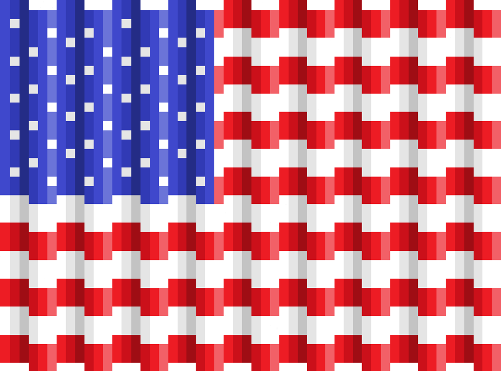 (7) Name: 'Quilting : Pixel Quilt Top Pattern - Old Glory