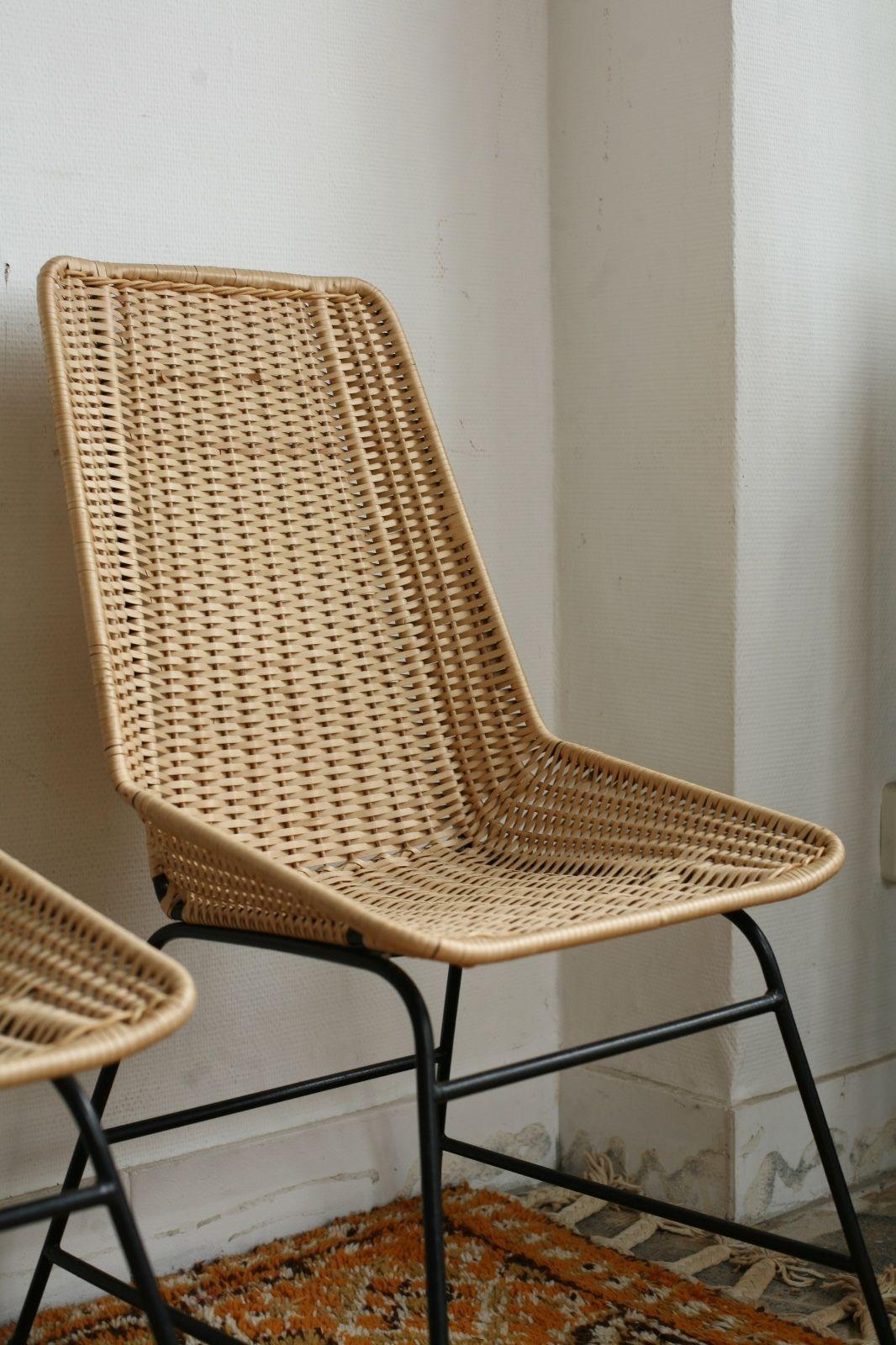 TRUE VINTAGE 1von2 RATTAN KORB STUHL 60er String wicker chair Made ...