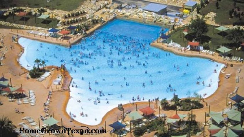 The Texas Shaped Lone Star Lagoon At Fiesta Texas Is A Wave Pool Which Holds Over 500 000 Gallons Of Water Six Flags Fiesta Texas Water Park Rides Water Park