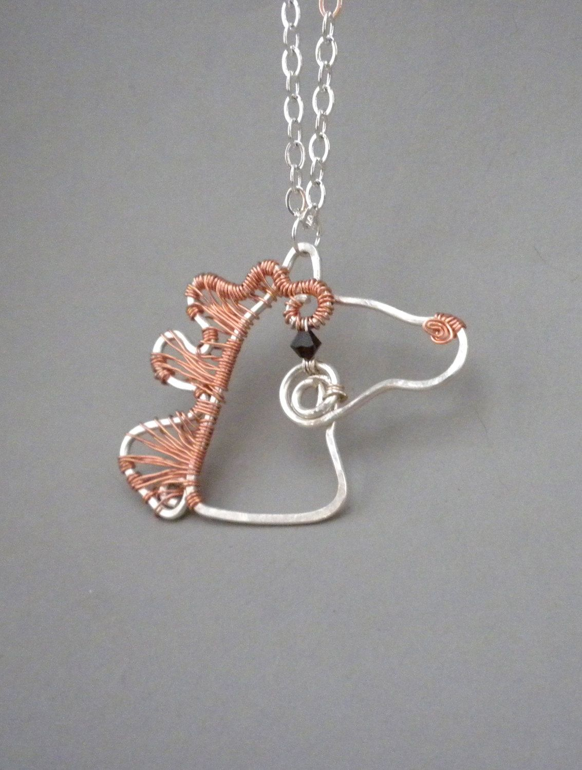 Copper Mane Wire Wrapped Horse Pendant. via Etsy. | Wire Jewelry ...