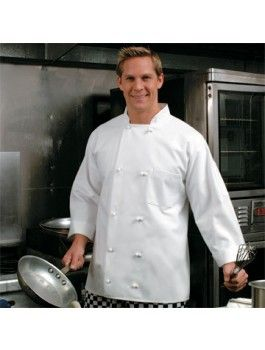 10 French Button Chef Coat, available in white or black. Sizes: XS to 6 XL.