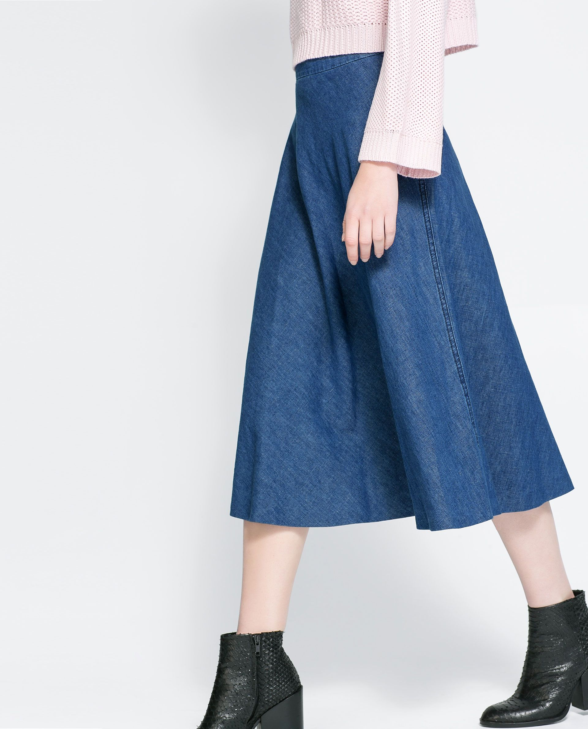 Zara A-line denim skirt below knee lenght | wear // fw | Pinterest ...