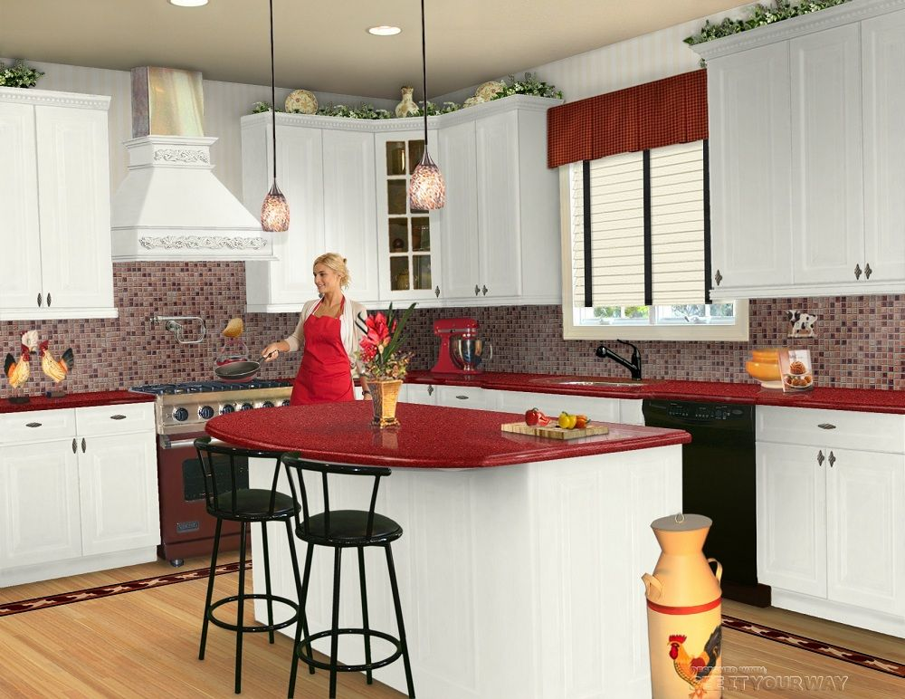 Kitchen Kitchen With White Cabinets And Red Marble Countertop Also Black  Sleek Chair And Beautiful Hanging Lamps Modern U0026 Stylish Red And W. Part 74
