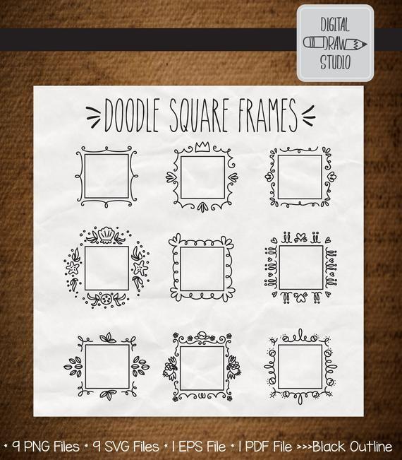 Photo of 27 Square Frame Clip art | Hand Drawn Border + Decorative Princess Frame Outline Drawing | Doodle Wreath illustration | Png Eps Pdf Svg Dxf