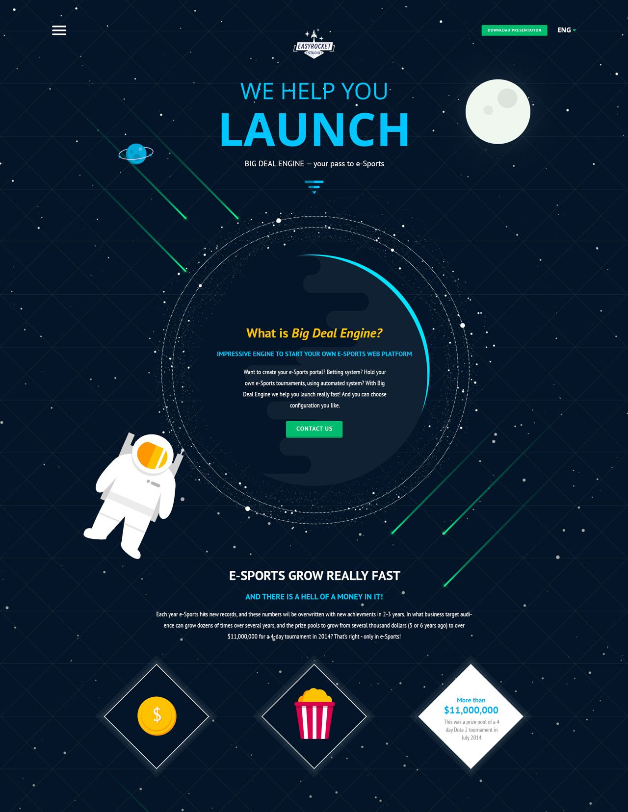 Great looking landing page with an outer space theme for Outer space poster design