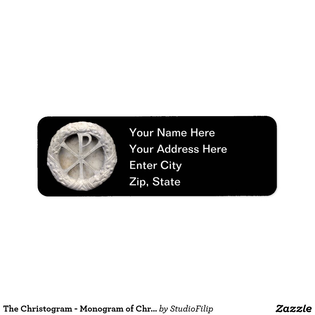 The Christogram - Monogram of Christ Return Address Label  | To SAVE BIG on your purchase just enter the Discount Code at checkout! >>> You can find it right under the menu on each product page!