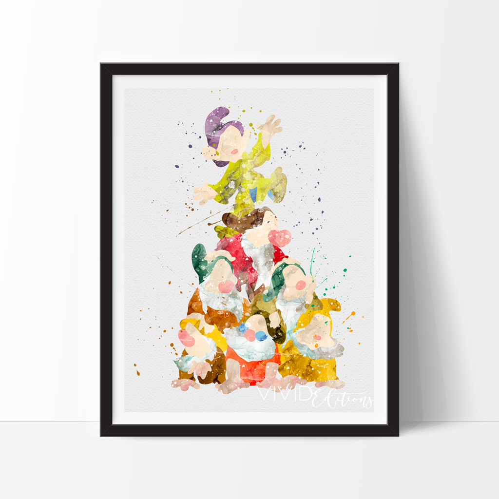 Co color art printing anchorage alaska - Seven Dwarfs Snow White Disney Watercolor Art Print