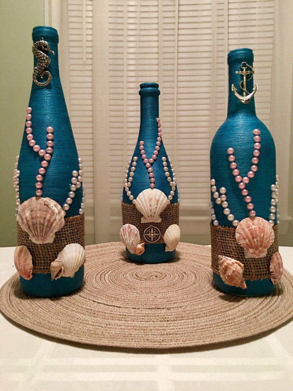 Hand wrapped wine bottle bottle beach ocean sea themed vase hand wrapped wine bottle bottle beach ocean sea themed vase reviewsmspy