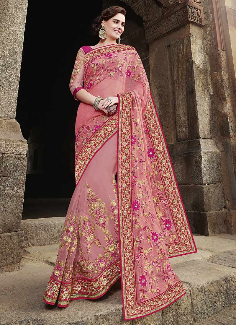 Pink Georgette Embroidered Saree | Indian Dresses | Pinterest