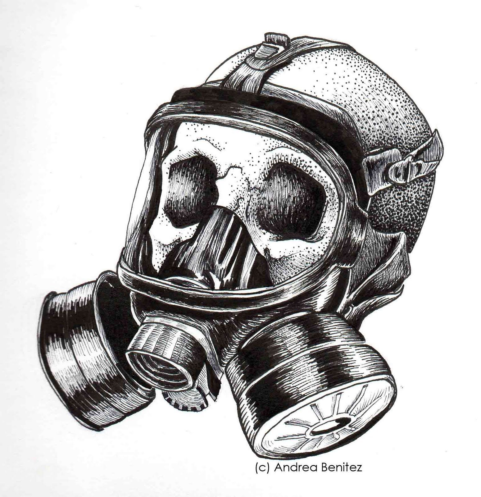 Skull Line Drawing Use The Gas Mask Unlike This Guy Did In Time