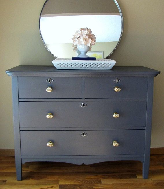 Color Inspiration Dark Grey Blue Painted Dresser By Thewits On Etsy