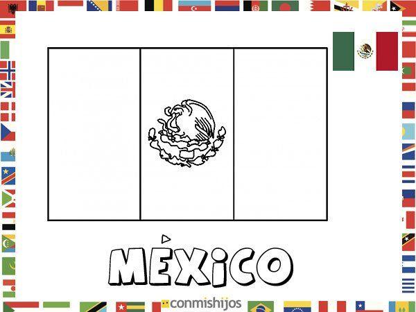 Bandera de México. Dibujos de banderas para pintar | Vuelta al mundo ...