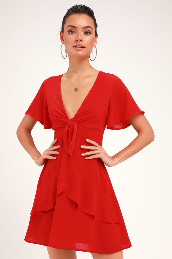 7f1e81e7345b Lulus | Jewell Red Tie-Front Ruffled Skater Dress | Size Medium | 100%  Polyester