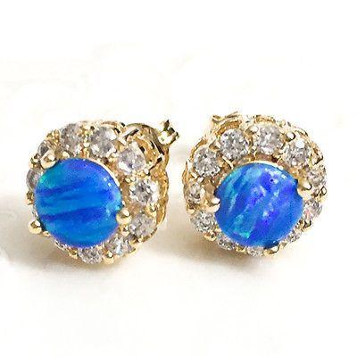 1b0b3ef09 2-Ct-Round-Blue-Fire-Australian-Opal-Stud-Earrings-14K-Yellow-Gold-Jewelry -E36