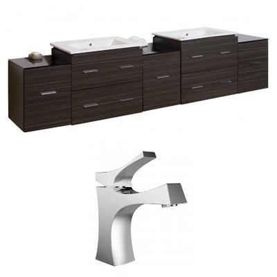 "RoyalPurpleBathKitchen Hinerman 90"" Wall-Mounted Double Bathroom Vanity Set | Wayfair"