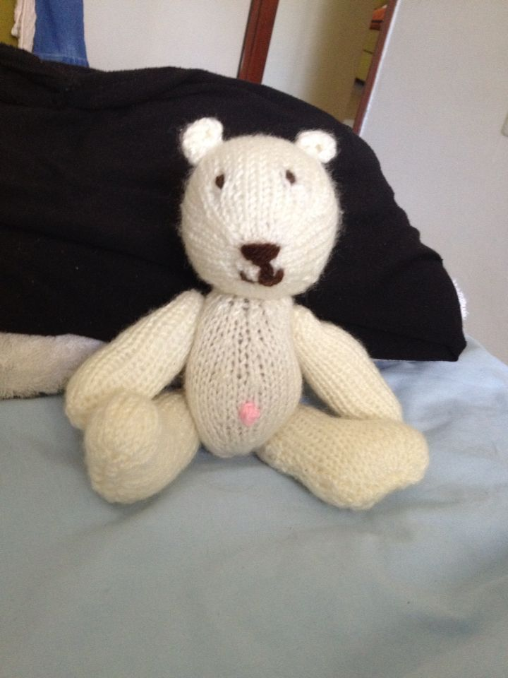 My own version of rabbit and bear made from pattern by small means +5 items of clothing. Mine is a polar bear
