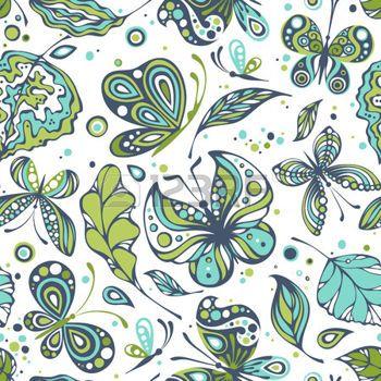 Vari farfalle e foglie su sfondo bianco. Seamless. Facile cambiare colore. photo