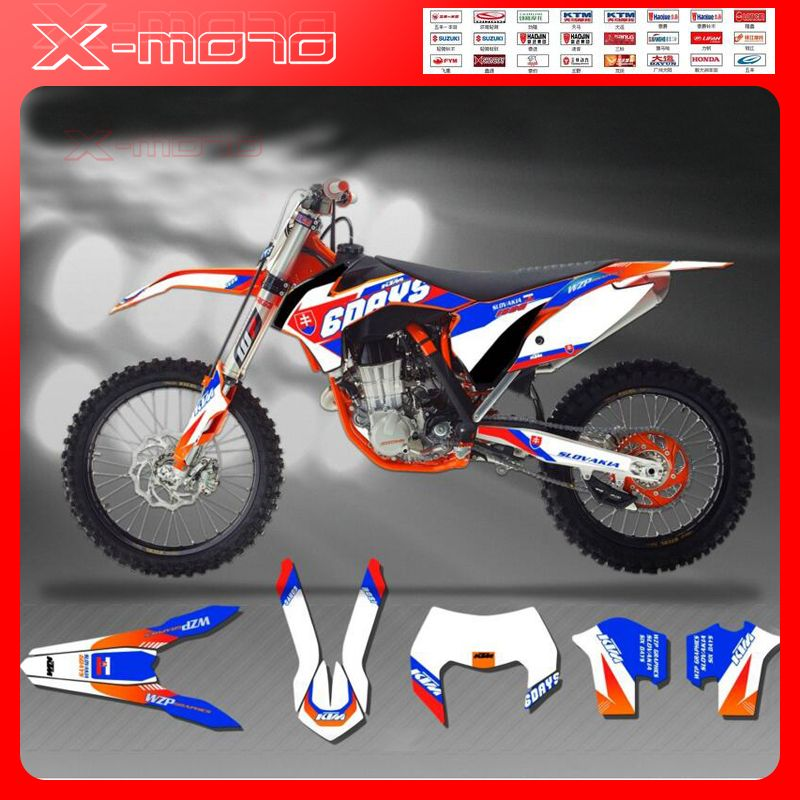 Customized Team Graphics Backgrounds Sixdays Custom Decals 3m Stickers Kits For Ktm Exc W 08 17 Sx Sxf07 16 12 Custom Decal Stickers Custom Decals Sticker Kits