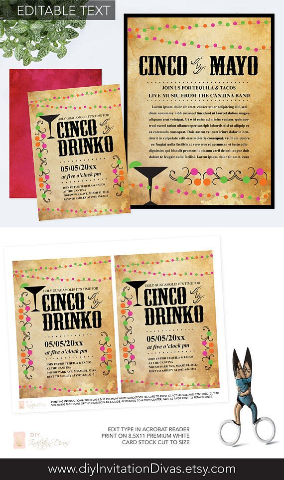 editable cinco de mayo invite with free flyer fiesta birthday party